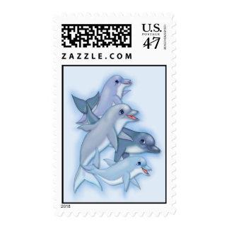 Familia del delfín estampilla