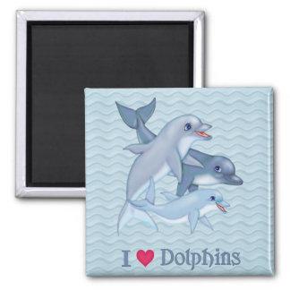 Familia del delfín imán cuadrado