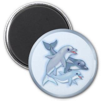 Familia del delfín imán redondo 5 cm