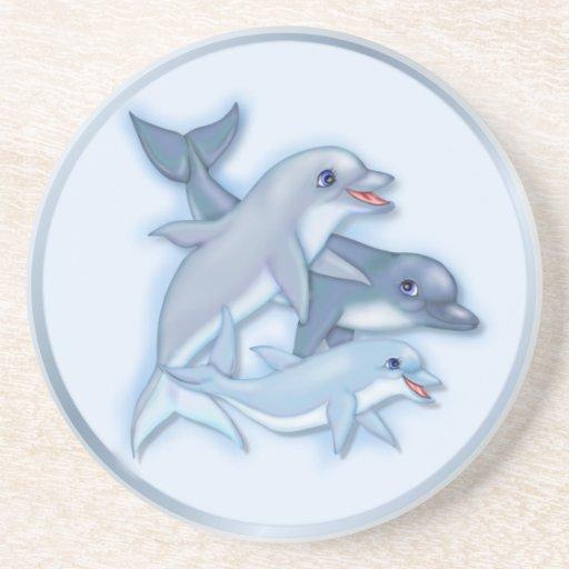 Familia del delfín posavasos diseño