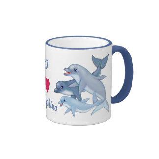 Familia del delfín taza de dos colores