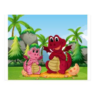 Familia del dragón tarjetas postales