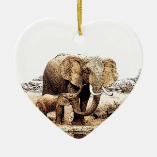 Familia del elefante adorno navideño de cerámica en forma de corazón