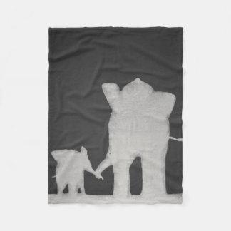Familia del elefante de la tiza manta de forro polar