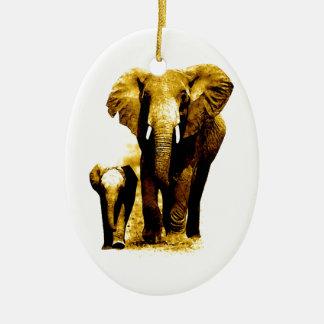 Familia del elefante adorno ovalado de cerámica