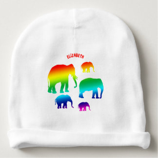 Familia del elefante del arco iris con tres gorrito para bebe