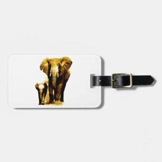 Familia del elefante etiquetas para maletas