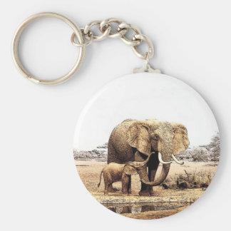 Familia del elefante llavero redondo tipo pin