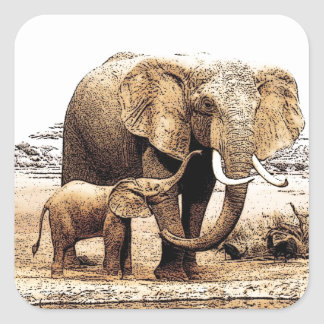 Familia del elefante pegatina cuadrada
