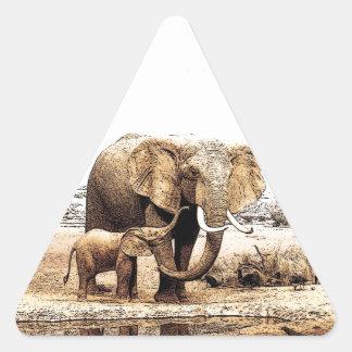 Familia del elefante pegatina triangular