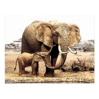 Familia del elefante tarjetas postales