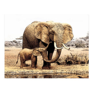 Familia del elefante tarjeta postal