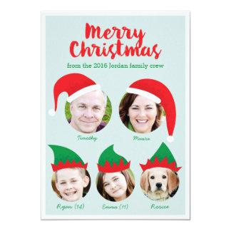 """Familia del equipo del navidad de tarjeta del día invitación 5"""" x 7"""""""