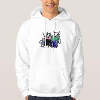Familia del fútbol de la vaca sudaderas