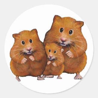 Familia del hámster de tres: Lindo: Lápiz del Etiqueta Redonda