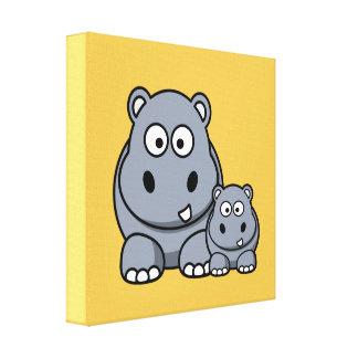 Familia del hipopótamo del bebé, safari salvaje impresión en lona