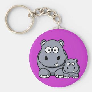 Familia del hipopótamo del bebé, safari salvaje llavero redondo tipo pin