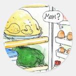 Familia del huevo del pollo del refrigerador pegatina redonda