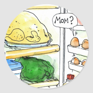 Familia del huevo del pollo del refrigerador pegatinas redondas