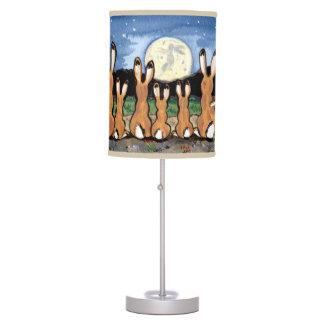 Familia del Jackrabbit que mira la luna, lámpara d