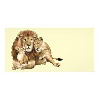Familia del león tarjeta personal con foto