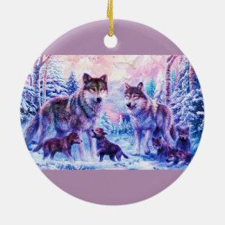 Familia del lobo adorno navideño redondo de cerámica