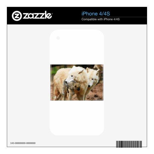 familia del lobo en movimiento skins para iPhone 4