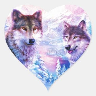 Familia del lobo pegatina en forma de corazón