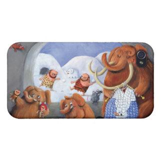 Familia del mamut lanoso en edad de hielo iPhone 4 cárcasas