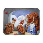 Familia del mamut lanoso en edad de hielo imán de vinilo