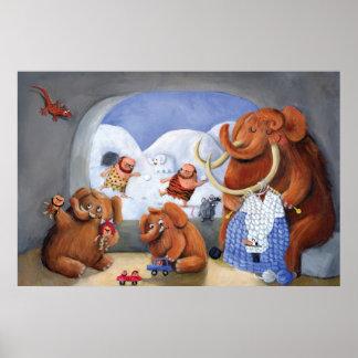 Familia del mamut lanoso en edad de hielo poster