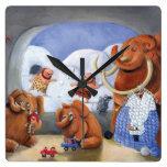 Familia del mamut lanoso en edad de hielo relojes de pared