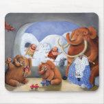 Familia del mamut lanoso en edad de hielo alfombrilla de ratones
