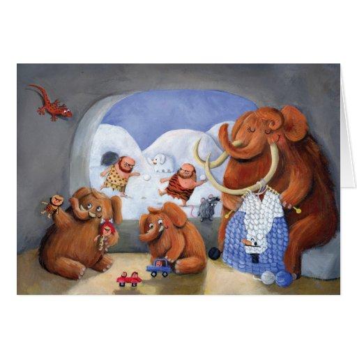 Familia del mamut lanoso en edad de hielo felicitación