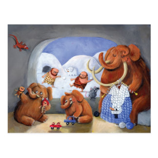 Familia del mamut lanoso en edad de hielo postal