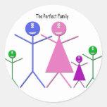 Familia del monstruo (2 muchachos, 1 chica) pegatinas redondas