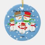 Familia del muñeco de nieve de ornamento de 5 navi adorno para reyes