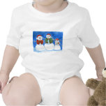 Familia del muñeco de nieve del navidad, mano traje de bebé