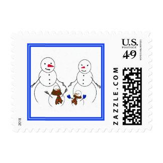Familia del muñeco de nieve franqueo