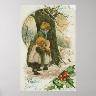 Familia del navidad del vintage el mañana de navid póster