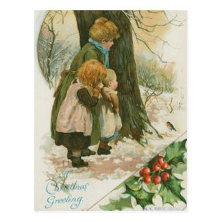 Familia del navidad del vintage el mañana de navid tarjetas postales