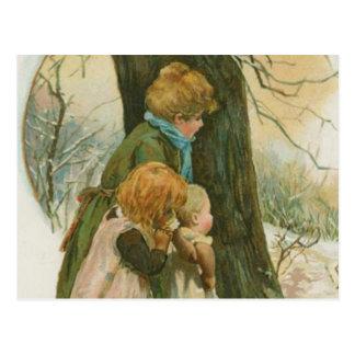 Familia del navidad del vintage el mañana de navid tarjeta postal