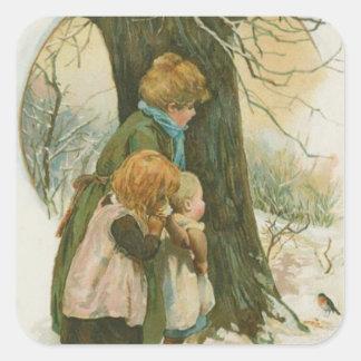 Familia del navidad del vintage el mañana de pegatina cuadrada