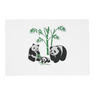 Familia del oso de panda tapete individual