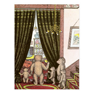 Familia del oso de peluche en el pie de las escale