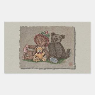 Familia del oso de peluche pegatina rectangular