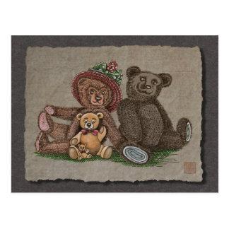 Familia del oso de peluche postal