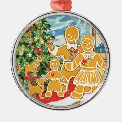 Familia del pan de jengibre con su árbol de adorno navideño redondo de metal