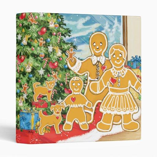 Familia del pan de jengibre con su árbol de navida