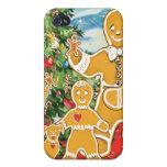 Familia del pan de jengibre con su árbol de navida iPhone 4 coberturas